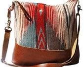 Large Messenger Katama- Handmade Bohemian Fabric & Leather -Environmentally Conscious- purse/antique/pouch/hand bag/designer/vintage/tote