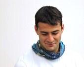 Blue Loop Scarf - Scarf wrap - Circle Scarf  –Boho scarf- Boyfriend Gift- Gift for Men- Mens Scarf- Birthday Gift- Hipster