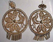 Vintage Peacock Earrings, Gold Brass Fringed Wirework, Extra Large Hoop Drops, Flower Hook, Marked China