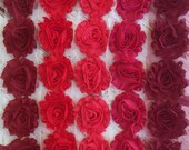 Shabby Chiffon Flower Trim - Your Choice of Color And Quantity! RED SCHEME - 1/2 yard or 1 yard - Maroon - Strawberry - Raspberry - Wine