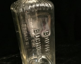 Antique Bouvier Buchu Gin Bottle with German Stopper Cork Spout