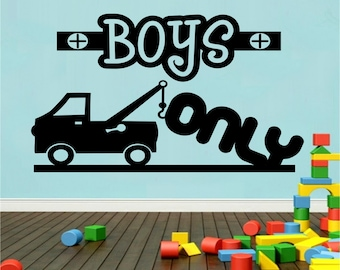 Boys Only Vinyl Decal Truck Decal Tow Truck Boy Nursery Bedroom Wall Decal Boys Only Vinyl Wall Decal Housewares