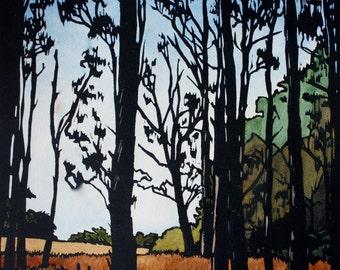 Hand Painted Linocut, Twelve Trees, Linoprint Trees Landscape, Australia