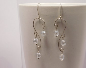 Sterling Silver and Crystal Wire Wrapped Earrings