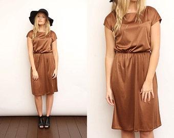 Vintage 80s Brown Gold Metallic Sleeveless Dress. Small.