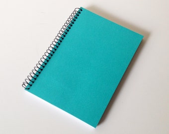 Turquoise Journal Pocket Size Notebook Diary Green Cardstock Cover Spiral Bound 01/16