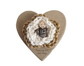 I Heart Coffee Brooch Crocheted Flower Coffee Lover Tan Cream