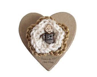 I Heart Coffee Brooch Crocheted Flower Coffee Lover Tan Cream