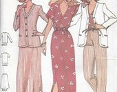UNCUT  Sewing Pattern Butterick 6471 for Jacket, Top, Skirt and Pants, 1980s, Sz 16