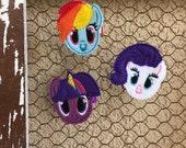 My Little Pony felt clips Rainbow Dash rarity twilight sparkle MLP clips