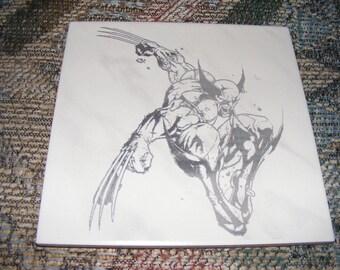 """Laser engraved 8""""x8"""" ceramic tile Wolverine"""