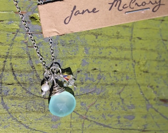Aqua Chalcedony, pearl, and swarovski necklace in Sterling silver