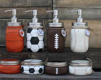Sports Soap Dispenser and Jar Set- Baseball, Soccer, Basketball, Football
