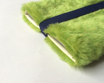"fake fur iPad mini sleeve, ipad case cover, cool, faux fur, tablet cover - ""creamy green"""