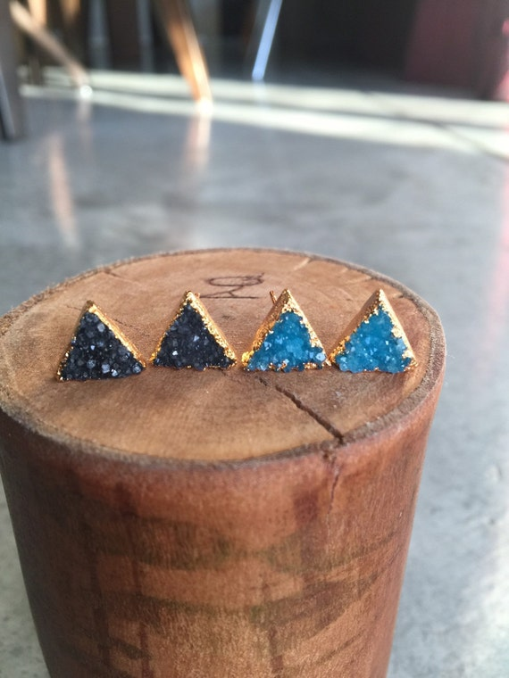 Triangle Druzy earrings, duzy jewelry, Aunt gift, sister gift