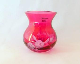 Royal Doulton Posy Vase, Purple, Flowered Vase, Glass Vase, Cirags Rose Bouquet, Hand Cut