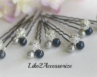 Set of 8 Pins, Rhinestone Ball, Bridal Hair Pins, Prom Hair Do, Blue Pearl Hair Clip, Bridesmaid Hair Clip, Pearl Hair Pin, Hair Accessories