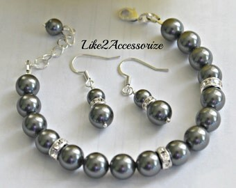 Vintage Bridal Bracelet Earring Set. Grey Silver Pearl Bracelet Earring. Bridesmaid Bracelet. Earring Set. Wedding Earring. Bidesmaid Gift