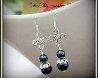 Swarovski Ivory Pearl Earrings, Bridesmaid Earrings, Wedding Jewelry, Bridesmaid Gift, Silver Blue Dangle Earrings, Promp Jewelry