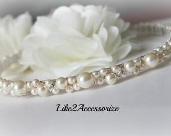 Bridal Headband, Swarovski Pearl White Ivory Headband, Bridal Tiara Wedding Jewelry Bridal Head Piece Jeweled Rhinestones Wedding Headband