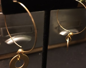 Gold toned washer earrings