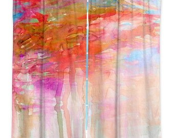 CARNIVAL DREAMS ORANGE Clouds Watercolor Window Curtains, Multiple Sizes Abstract Colorful Decor Bedroom Kitchen Lined Unlined Woven Fabric