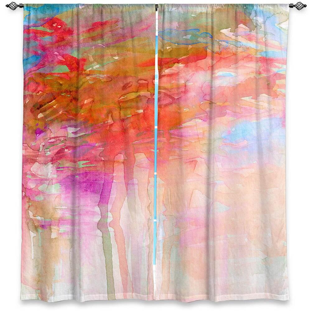 Carnival Dreams Orange Clouds Watercolor Window Curtains