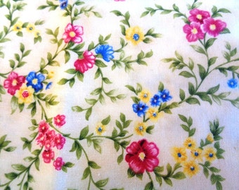 "Petite Floral Fabric, Fat Quarter, Multicolor, 18"" X 22"" inches, 100% Cotton, For Victorian & Romantic Projects"