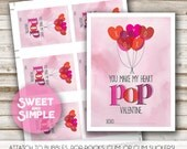 Printable Valentine's Day Cards for Kids, Valentine Tags, You Blow Me Away Valentine, XOXO, Modern Watercolor, Easy
