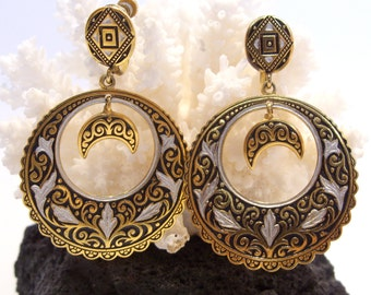 Damascene Circle Drop Earrings with Moon Dangle Screw Backs