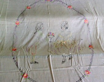 Lavender Embroidered Summer Bedspread for Twin or Double Bed Lace Trimmed