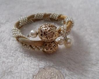 Beautiful Faux Pearl and Goldtones Serphantine Coil Wrap Bracelet