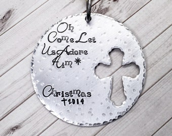 Christmas Ornament - Cross Ornament - Christian Ornament - Hand Stamped - Personalized Ornament - Large Metal Ornament