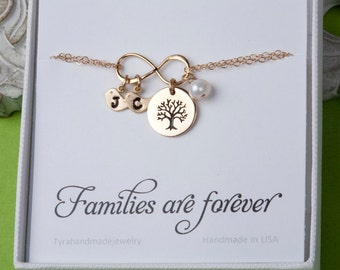 Family tree bracelet,Tree of life bracelet,Infinity love family bracelet,Bird bracelet,Mother jewelry,Grandma,Personalized,Family bracelet