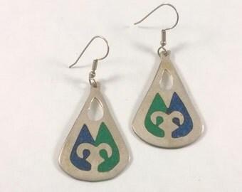Vintage Silver Drop Earrings - Pierced Enamel Dangle -  1980s
