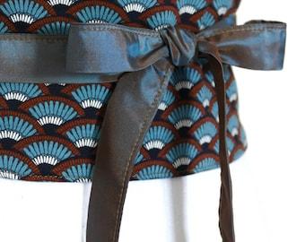 "Reversible Obi Belt by Lorella Creations / Funky Bags 'n Bibs ""Fuyu"" (black, white, brown, blue) back black, japanese"