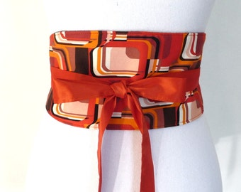 """Reversible Obi Belt """"Polly"""", waist-clancher, (retro print, red, orange), by Lorella Créations"""