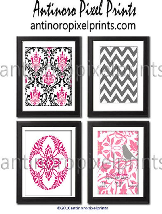 Art Modern Inspired Baby Nursery Prints Collection -Set of 4 - 8x10 Prints -Pink Grey White   (UNFRAMED)
