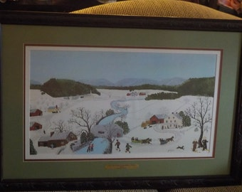 Grandma Moses  Over the River  Huge Matte Print in A Very Ornate Frame /32 inches by 22 inches../Not Included in Sale S