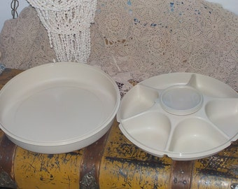 Divided Tray, Vintage Tupperware, Pot Lucks, Vintage Dishes, Vintage Kitchen, Tupperware Divided Tray with Lid and Small bowl      :)S