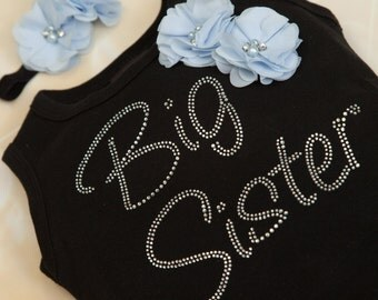 Big Sister Dress Girls Cotton Black Dress with Big Sister in Rhinestones wiith matching Headband