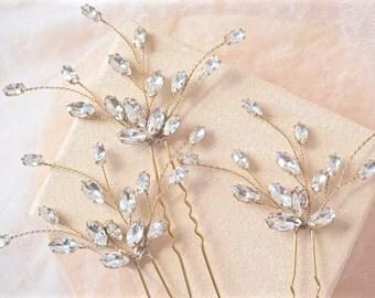 Rhinestone and Gold Hair Pins,Gold Bridal Hair Pins,Gold Wedding Hair Pins,Gold Hair Accessories,Gold Hair Pins,Gold Crystal Hair Pins