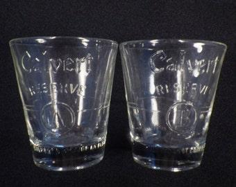 """Whiskey Shot Glass Set, """"CALVERT A and CALVERT B"""""""
