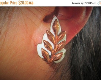 ON SALE Matisse Renoir Copper Leaf Earrings, White Enamel and Copper, Mid Century Modern Jewelry, Signed Designer, 1950s Retro