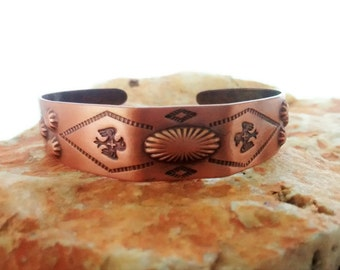 Vintage Copper Cuff Bracelet Thunderbird, Arrows, Stamped Southwest Jewelry, Boho Fall Fashions, Bell's Trading Post