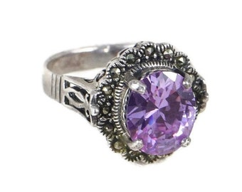 ON SALE Gorgeous Sterling Silver Marcasite and Amethyst Cocktail Ring, Art Deco Style, February Birthstone, Valentine's Day, I love You Ring