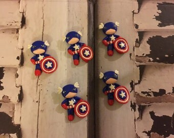 1 piece of Captain America Polymer Clay Charm Bead Scrapbooking Embelishment Bow Center Pendant Cupcake Topper