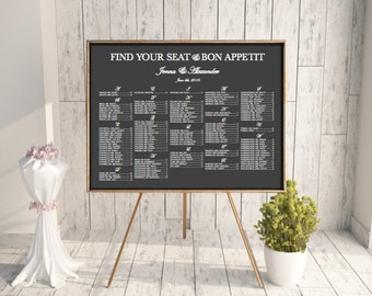 Find Your Seat, Wedding Seating Chart, Wedding Seating, Reception Template Seating Chart