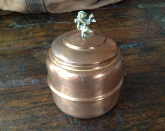English Tea Caddy Copper and Brass Storage Container, Classic English Standing Lion