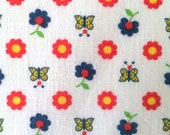 70s Vintage Fabric Daisy Butterfly on White Cute Calico Print Primary Colors Light Weight Cotton Cute Bright Fun